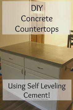 DIY Concrete Countertops Using Self Leveling Cement! - Some of This and That - DIY Concrete Countertops Using Self Leveling Cement! – Some of This and That DIY Concrete Countertops Using Self Leveling Cement! Diy Concrete Countertops, Kitchen Countertop Materials, Kitchen Countertops, Refinish Countertops, Concrete Walls, Kitchen Cabinets, Kitchen Appliances, Kitchen Redo, Kitchen Design