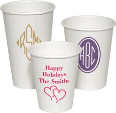 Personalized White Paper Party Cups  @studioNotes