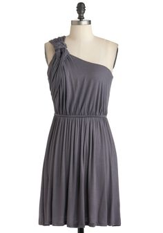 Grecian Earn Dress - Grey, Solid, One Shoulder, Fall, Ruching, Off the Shoulder, Mid-length, Jersey, Casual, Party