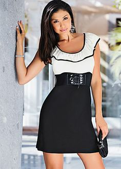 Black & Off White (BKOW) Belted Ruffle Dress $42