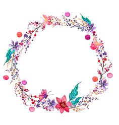 Watercolor flower wreath background vector art by VectorStock | We ...