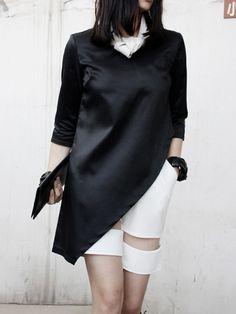 Black Top With Asymetric Hem | Choies