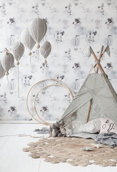 Oh Clouds Wallpaper Nursery Room, Nursery Decor, Circus Nursery, Feather Lamp, Cricket Wallpapers, Wallpaper Please, Cloud Wallpaper, Baby Illustration, Baby Journal