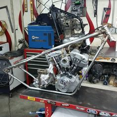 This is some of  what I am working with on the new shovel head project.  @rkbkustomspeed did the stainless frame. @bakerdrivetrain 6 In a 4spd case transmission. Excited to get this project started! #pandemoniumc2 #shovelhead #chopper #bobber @corygmiller75