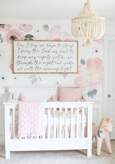 Baby Emma's Nursery Reveal Our beautiful floral nursery that is bright and airy with pops of pink! Baby Emma is here so I'm excited to finally share her nursery reveal! Dressing Room Design, Floral Nursery, Stylish Bedroom, Nursery Inspiration, Nursery Ideas, Room Ideas, Project Nursery, Nursery Room, Light Pink Nursery Walls