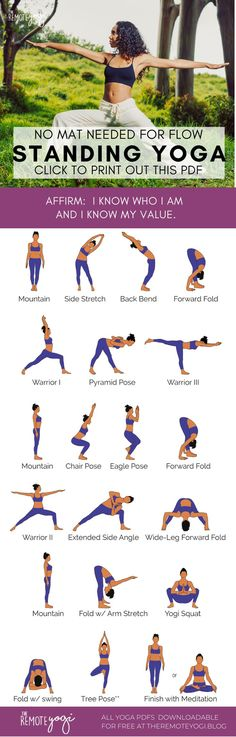 Do you ever feel like a quick yoga class but dont have a mat? Print out this free Standing Only Yoga PDF to practice anywhere. Yoga Flow, Yoga Bewegungen, Yoga Meditation, Kid Yoga, Yoga Fitness, Fitness Workout For Women, Train Hard, Full Body Yoga Workout, Youtube Workout Videos