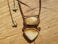 fossil coral macrame stone necklace with adjustable length,double gemstone,macrame jewelry,healing stone,boho necklace by ARTEAMANOetsy on Etsy Macrame Necklace, Macrame Jewelry, Gemstone Necklace, Fossil Jewelry, Sliding Knot, Rectangle Shape, Healing Stones, Women Jewelry, Coral