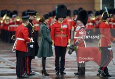 Catherine, the Duchess of Cambridge, presents a bunch of shamrock, Irelands three-leafed floral emblem, to the regimental wolfhound mascot of the 1st Battalion Irish Guards during St Patricks Day parade in Mons Barracks in Aldershot on March 17, 2013.