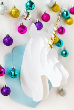 Unicorn-head-DIY-christmas-decoration-tutorial-3d-papercraft-cricut-card-xmas-modern_-4