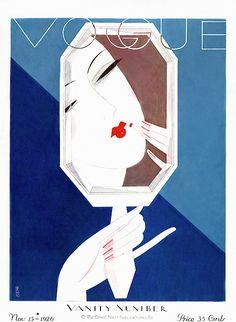 A Vintage Vogue Magazine Cover Of A Woman Art Print by Eduardo Garcia Benito Vogue Vintage, Vintage Vogue Covers, Art Vintage, Vintage Posters, Vogue Magazine Covers, Fashion Magazine Cover, Art Deco Illustration, Fuente Art Deco, Art Deco Font