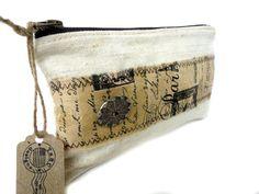 HOMESPUN EUROPEAN LINEN Zipper Pouch Small Bag by TnBCdesigns, $42.00