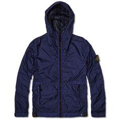 Stone Island Membrana TC Garment Dyed Hooded Jacket (Mid Blue)