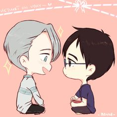 Victuuri on Vday! ♡ Viktor gives Yuuri a thank-you-for-the-chocolate kiss  _(:3 /