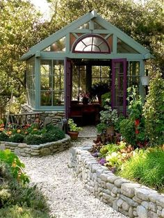 Both a garden retreat and a green house? Yes, please. #gardensheds #conservatorygreenhouse #sheddesigns