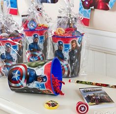 Avengers birthday party favor cups