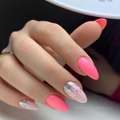 Nail art Christmas - the festive spirit on the nails. Over 70 creative ideas and tutorials - My Nails Acrylic Nails Kylie Jenner, Blue Acrylic Nails, Pink Nail Art, Pink Nails, Get Nails, Hair And Nails, Airbrush Nails, Chrome Nails, Nagel Gel