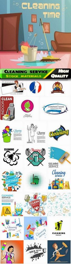 Cleaning service logo badge and emblem - 25 Eps