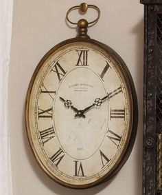 Evergreen Vintage 20 Oval Wall Clock