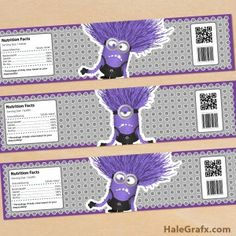 Free printable evil minion water bottle labels
