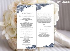 Printable Wedding ceremony program template Vintage Navy by Oxee, $5.00