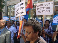 Demonstration in London against Eritrea's Isaias Afewerki.