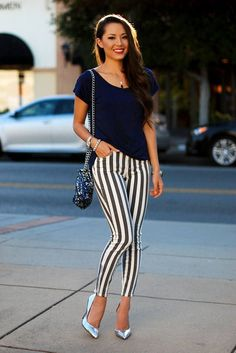 Collection for women this season outfit trends outfit trends striped pants, Black And White Pants, White Jeans, Black White, White Boots, Striped Jeans, Stripe Pants, Striped Shirts, Striped Outfits, Looks Street Style