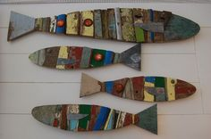 Fish made from pieces of old boats and beer tops, found on the beach in Barbados.