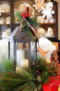 Sweet Something Designs: Old World Christmas Table with hurricane lamp Decoration Christmas, Christmas Lanterns, Christmas Tablescapes, Christmas Centerpieces, Christmas Wreaths, Holiday Decor, Old World Christmas, Christmas Love, All Things Christmas