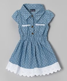 Look at this Light Blue Denim Polka Dot Dress - Toddler on #zulily today!