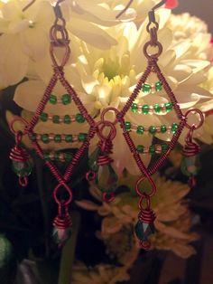 Copper wire wrapped earrings  https://m.facebook.com/JulesLittleGems2011