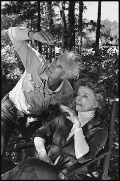 Cinematographer Billy Williams checks Katharine Hepburn's light in the woods of New Hampshire on the set of On Golden Pond (1981), directed by Mark Rydell. Mary Ellen Mark