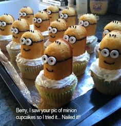 Minion Twinkie Cupcakes - Cut twinkie in half, use smarties for eyes, decorate with black icing, put on top of cupcake, pipe icing.