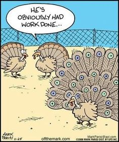Funny but Motly for Women | He's obviously had work done! For more #thanksgivinghumor visit my Turkey Day Humor board. Thanks & Happy Thanksgiving!