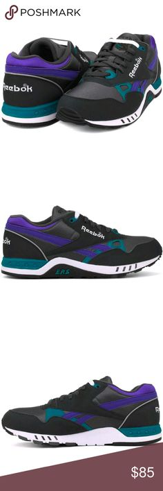 Reebok Mens shoe size 7 brand new Mens shoe size 7 supportive leather/mesh upper, a herringbone outsole for added traction and a timeless silhouette for lasting style. Black, White, purple  SOLD WITH BOX Reebok Shoes Athletic Shoes