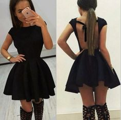 Sexy Backless Solid Color Short Sleeve Dress