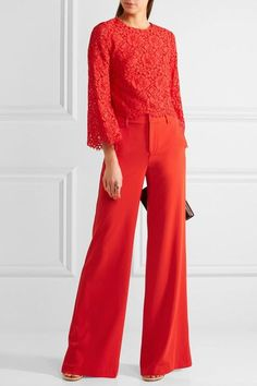 Alice Olivia - Paulette Crepe Wide-leg Pants - Red - US2