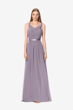 Emily bridesmaid gown by David Tutera for Gather & Gown.Wisteria bridesmaid gown. Light purple bridesmaid gown.