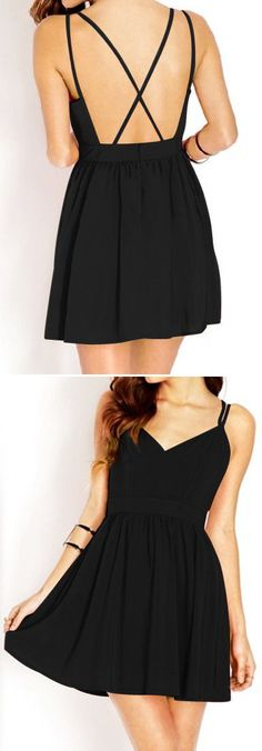 Black X Back Dress