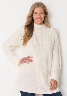 Relax in this plus size sweater when you want to be cozy and look extra feminine. The Shaker stitch is open but cozy, the swing silhouette is feminine and comfy! #fashion #style