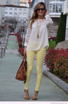 Light yellow pants, white lace blouse and brown details