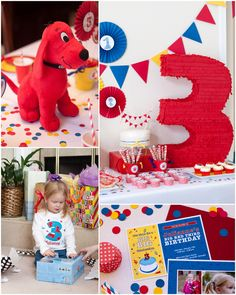 Clifford the Big Red Dog Birthday Party! Red Birthday Party, First Birthday Party Themes, Baby Girl Birthday, Birthday Ideas, Mickey Mouse Parties, Minnie Mouse, Bubble Guppies Birthday, Ladybug Party, Puppy Party