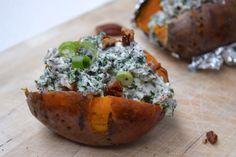 5 or less: Gepofte zoete aardappel met romige boerenkool