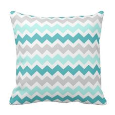 Elegant and modern bright turquoise aqua blue, grey and white retro chevron zigzags stripes vintage pattern decorative throw pillow. Fully customizable, add your own text or photo for a truly unique home decor item.