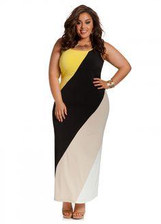 994c9f60695 Ashley Stewart  Color Block Maxi Curvy Girl Fashion