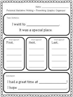 This personal narrative writing unit will cover 2 or more weeks of writing lesson plans! It is appropriate for 1st and 2nd graders and meets Common Core State Standards (W.1.3, W.1.5, W.2.3, and W.2.5). Students will write about going to a special place and a special day they have had.
