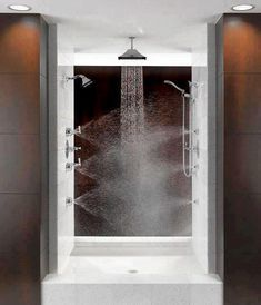 now, This is a shower!!! (Would be even better with a shower seat, lights in the shower and recessed areas for shower items.)
