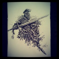 Drew a Faraam Knight at an art exhibition I'm currently apart of in between chatting to people. #darksouls #dark #souls #ink #marker #art #sketch #drawing #knight #faraam