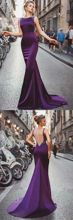 Sexy Sheath Column Regency Prom Dresses,Long Cheap Satin Evening Dresses,Mermaid Purple Beads Prom Dresses,Elegant Party Dress,Prom Dresses YH54,#beads#mermaid#purple#cheap#promdress#long#eveningdress#sexy