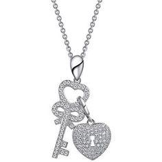 Lafonn Large Key and Dangling Heart Padlock Pendant Necklace