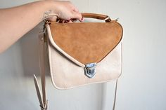 Mady Nude gold & brown suede leather crossbody bag by goldenponies, $73.00